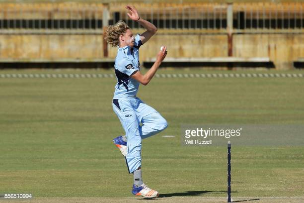 Mickey Edwards of the Blues bowls during the One Day Cup match between New South Wales and Tasmania at WACA on October 2 2017 in Perth Australia