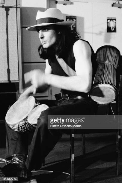 Mickey Finn , percussionist with British glam rock band T. Rex, at Scorpio Studios in London, 1974.