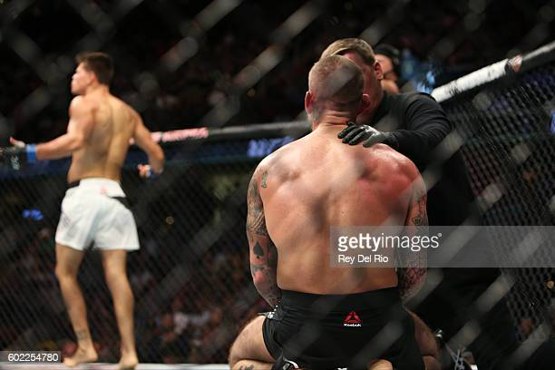 Mickey Gall celebrates his victory over CM Punk during the UFC 203 event at Quicken Loans Arena on September 10 2016 in Cleveland Ohio