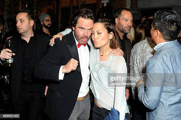 Mickey Gooch Jr and Hana Mae Lee attend the official wrap party for 'The Head Thieves' at The Golden Box on February 15 2015 in Hollywood California