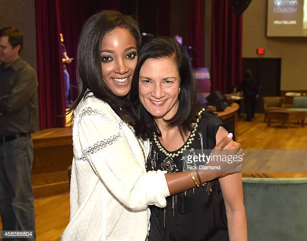 Mickey Guyton and CMT SVP Music Strategy Leslie Fram attend the CMT Next Women Of Country at City Winery Nashville on November 4 2014 in Nashville...