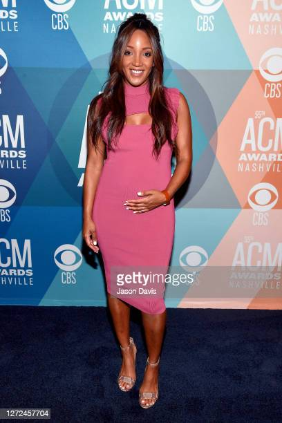 Mickey Guyton attends virtual radio row during the 55th Academy of Country Music Awards at Gaylord Opryland Resort Convention Center on September 14...