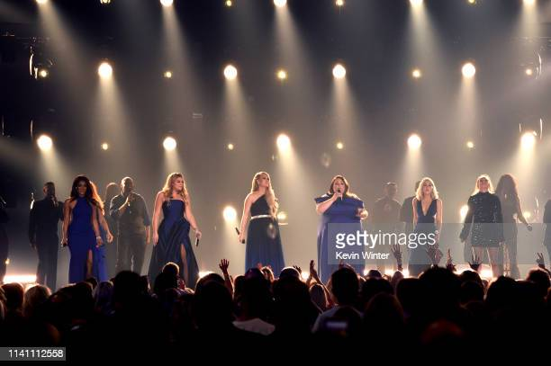 Mickey Guyton Lauren Alaina Carrie Underwood Chrissy Metz and Maddie Marlow and Tae Dye of Maddie Tae perform onstage during the 54th Academy Of...