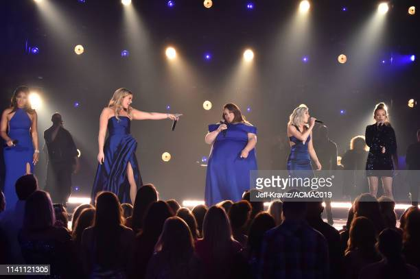 Mickey Guyton Lauren Alaina Chrissy MetzCarrie Underwood and Maddie Marlow and Tae Dye of Maddie Tae during the 54th Academy Of Country Music Awards...