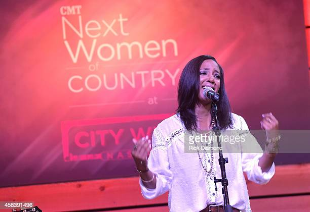 Mickey Guyton performs at the CMT Next Women Of Country at City Winery Nashville on November 4 2014 in Nashville Tennessee