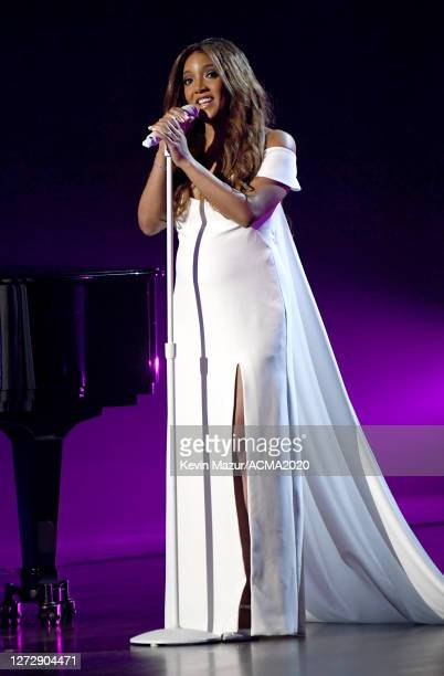 Mickey Guyton performs onstage during the 55th Academy of Country Music Awards at the Grand Ole Opry on September 16 2020 in Nashville Tennessee The...