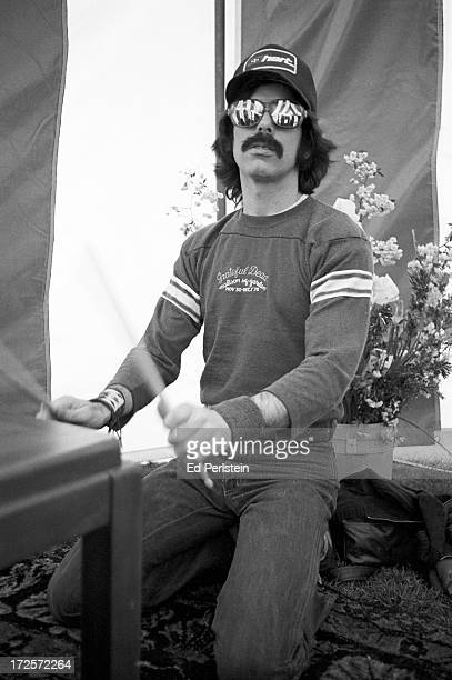 Mickey Hart of The Grateful Dead rehearses backstage at Spartan Stadium in April 1979 in San Jose, California.