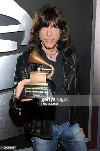 """Mickey Leigh of The Ramones arrives with The Ramones's """"Lifetime Achievement Award"""" at The 53rd Annual GRAMMY Awards held at Staples Center on..."""