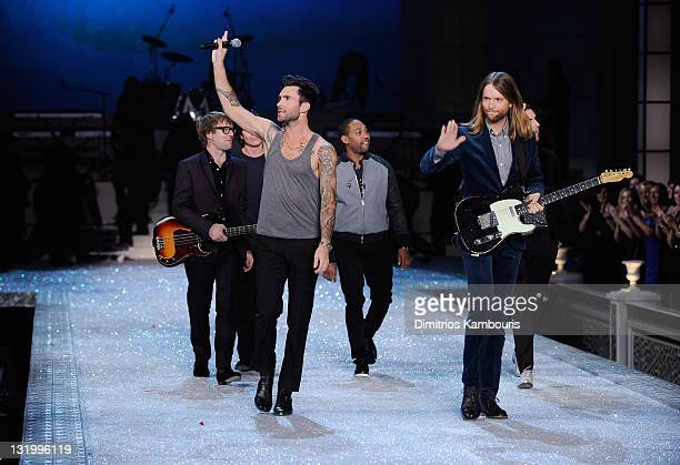 Mickey Madden Adam Levine and James Valentine perform during the 2011 Victoria's Secret Fashion Show at the Lexington Avenue Armory on November 9...