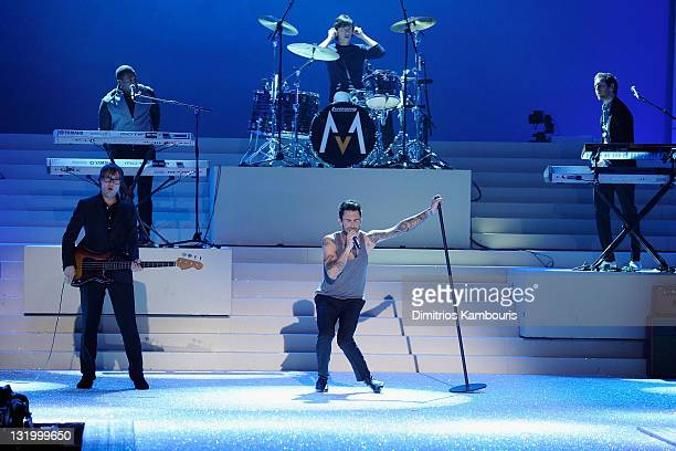Mickey Madden Adam Levine Matt Flynn and Jesse Carmichael perform during the 2011 Victoria's Secret Fashion Show at the Lexington Avenue Armory on...