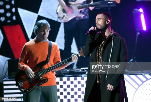 Mickey Madden and Adam Levine of Maroon 5 perform onstage during the 2018 iHeartRadio Music Awards which broadcasted live on TBS TNT and truTV at The...