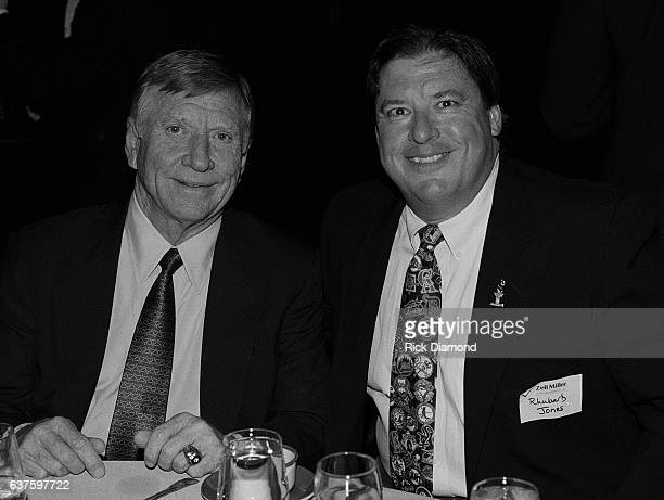 Mickey Mantle and Radio Personality Rhubarb Jones attend fundraiser hosted by Baseball Legends Hank Aaron And Mickey Mantle for Georgia Governor Zell...