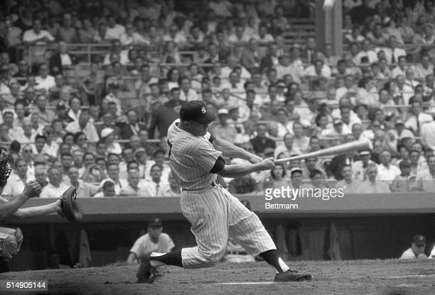 Mickey Mantle batting during game