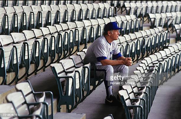 Mickey Mantle formerly of the New York Yankees sits in the stands during an instructional video in the mid 1980s in West Palm Beach Florida