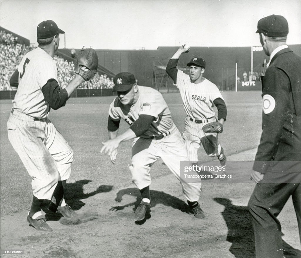 Mickey Mantle is caught in a rundown in a pre-season game vs. the San Francisco Seals on March 25, 1952 at San Francisco, California.