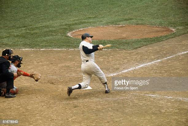 Mickey Mantle of the New York Yankees batts against the St Louis Cardinals in the 1964 World Series at Yankee Stadium in Bronx New York