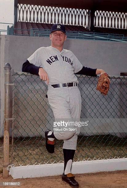 Mickey Mantle of the New York Yankees looks on in this portrait before a Major League Baseball game circa 1962 Mantle played for the Yankees from...