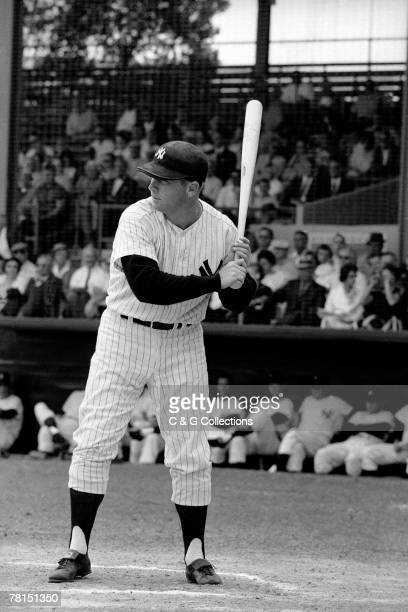 Mickey Mantle of the New York Yankees waits for a pitch during a MLB game in the Bronx New York in 1961