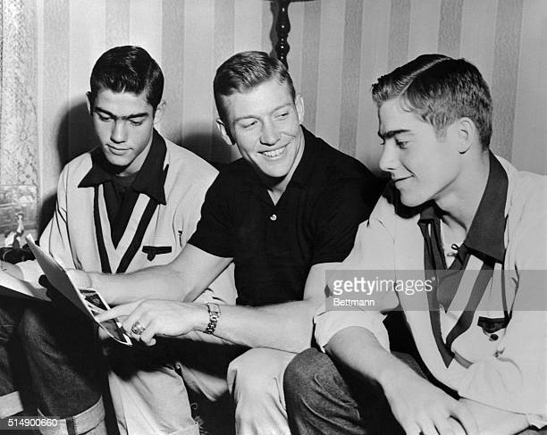 Mickey Mantle Sitting with Brothers Roy and Ray in Commerce Oklahoma