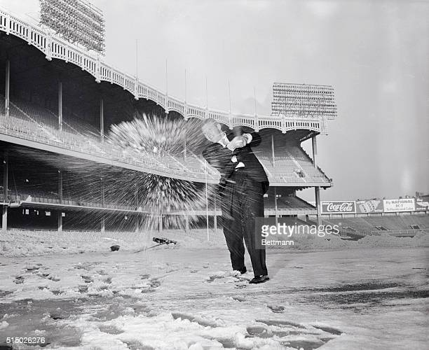 Mickey Mantle the big gun of the New York Yankees is getting some jubilation out of his system by batting snowballs at Yankee Stadium Mickey's...