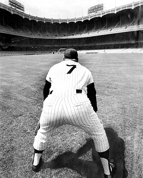 Mickey Mantle works out at Yankee Stadium during practice se