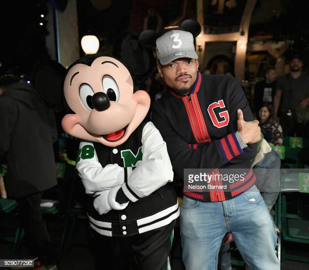Mickey Mouse and Chance The Rapper attend the launch of 'Mickey the True Original' campaign in celebration of Mickey's 90th anniversary with a...