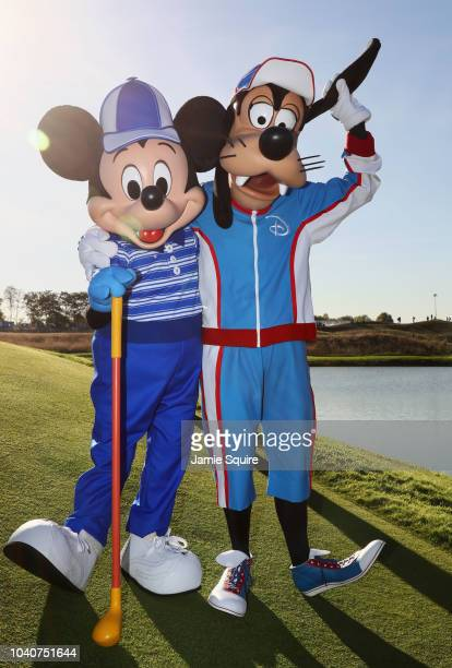 Mickey Mouse and Goofy during the Junior Ryder Cup GolfSixes ahead of the 2018 Ryder Cup at Le Golf National on September 26 2018 in Paris France