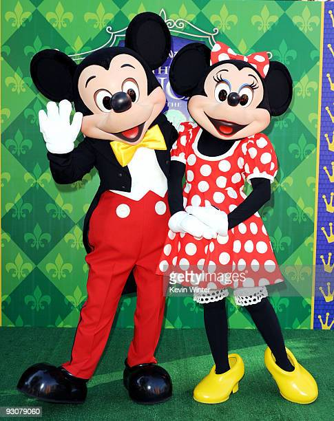Mickey Mouse and Minnie Mouse appear at the premiere of Walt Disney Pictures' 'The Princess and the Frog' at the Disney Studios on November 15 2009...