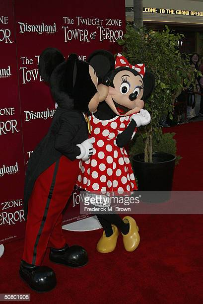 Mickey Mouse and Minnie Mouse attend the grand opening of The Twilight Zone Tower of Power ride at Disney's California Adventure theme park on May 5...
