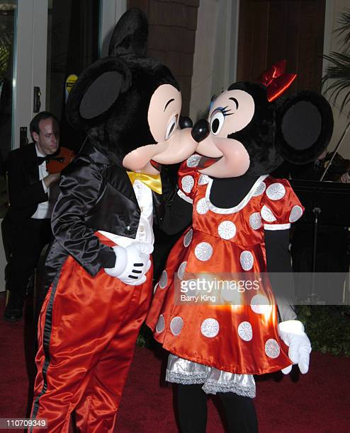 Mickey Mouse and Minnie Mouse during DisneyHand Teacher Awards Gala Arrivals at Grand Californian Hotel in Anaheim California United States
