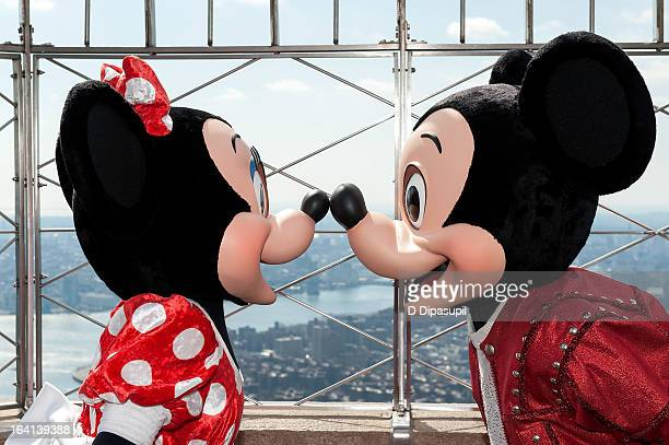 Mickey Mouse and Minnie Mouse visit The Empire State Building on March 20 2013 in New York City