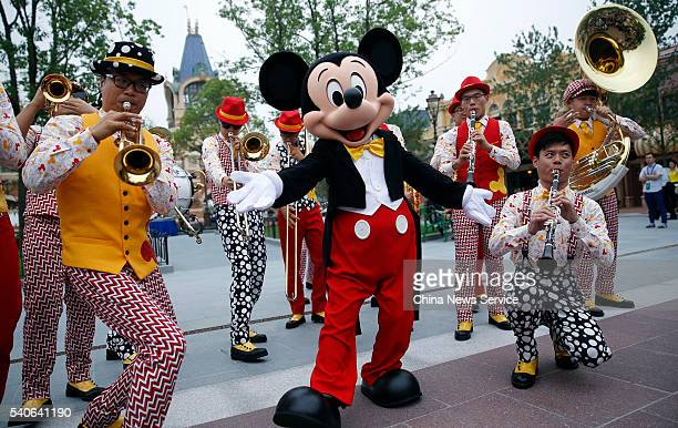 Mickey mouse and other cartoon characters take cruise at Shanghai Disneyland on June 15 2016 in Shanghai China Shanghai Disney Resort will welcome...