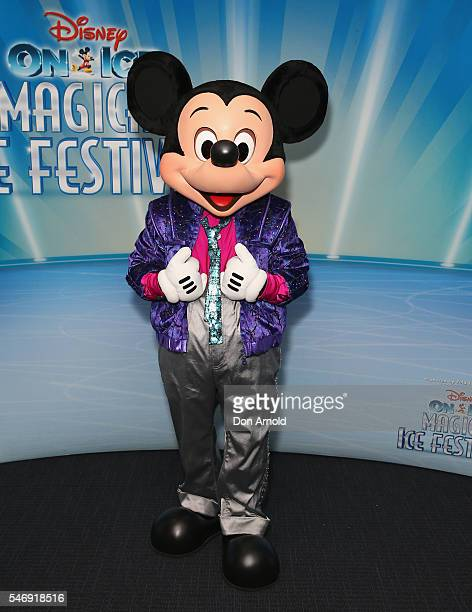 Mickey Mouse arrives ahead of the Disney On Ice premiere at Qudos Bank Arena on July 13 2016 in Sydney Australia