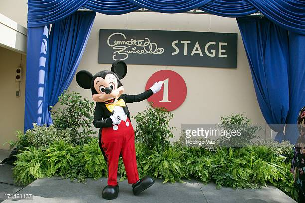 Mickey Mouse attends as The Walt Disney Company hosts a special stage rededication ceremony for Annette Funicello at Walt Disney Studios on June 24,...