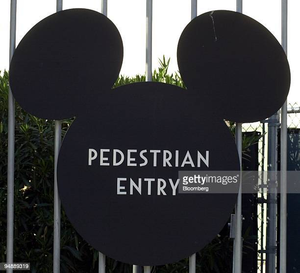 Mickey Mouse ear shaped sign marks the pedestrian entrance to the Animation Division of the Walt Disney Co office and studio complex in Burbank...