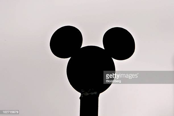 Mickey Mouse ears an icon for Walt Disney Co sit on display outside the company's studios