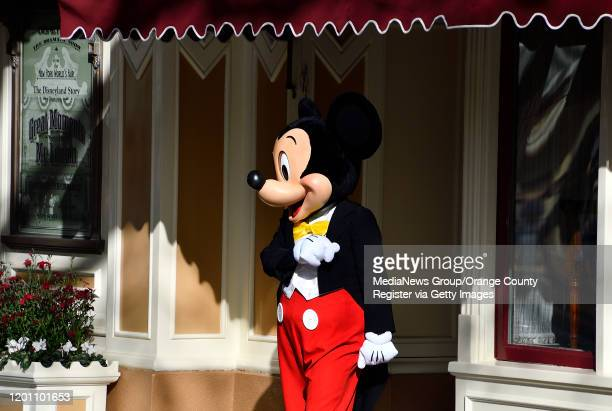 Mickey Mouse hangs out in front of the Opera House at Disneyland in Anaheim CA on Tuesday Jan 7 2020
