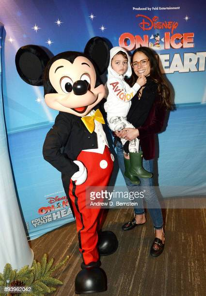 Mickey Mouse Julian FormBrewster and actress Jordana Brewster attend Disney On Ice Follow Your Heart at Staples Center on December 16 2017 in Los...