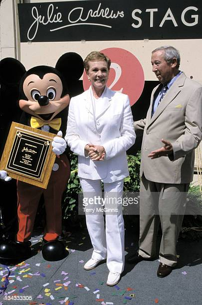 Mickey Mouse, Julie Andrews, & Roy Disney during Julie Andrews Stage Dedication at Julie Andrews Stage in Burbank, California, United States.