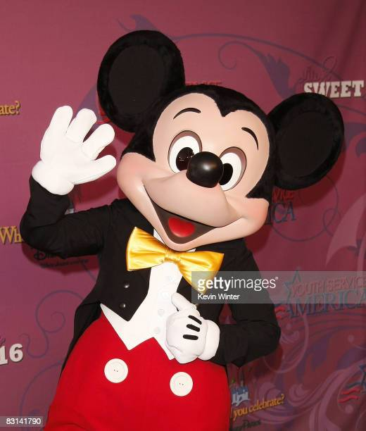 Mickey Mouse poses at Miley Cyrus' 'Sweet 16' birthday celebration benefiting Youth Service America at Disneyland on October 5 2008 in Anaheim...