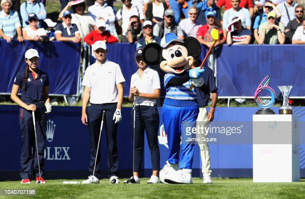 Mickey Mouse tees off prior to the Junior Ryder Cup GolfSixes ahead of the 2018 Ryder Cup at Le Golf National on September 26 2018 in Paris France