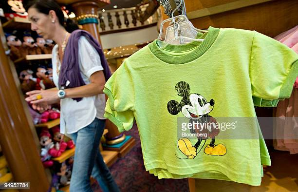 Mickey Mouse tshirt hangs on display in the World of Disney store in New York US on Monday Aug 31 2009 Walt Disney Co said it agreed to buy Marvel...