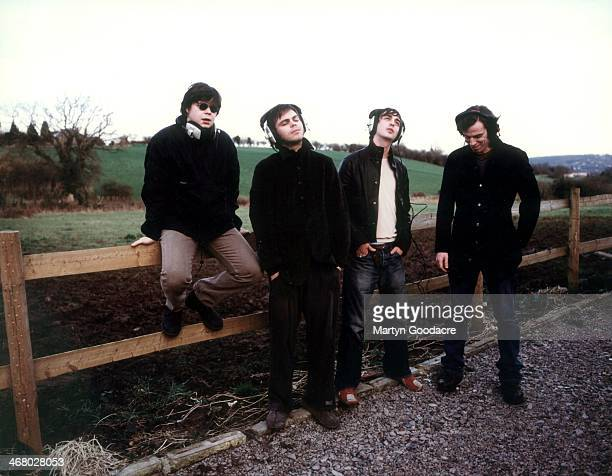 Mickey Quinn, Gaz Coombes, Danny Goffey and Rob Coombes of Supergrass, at Rockfield Studios in Wales during the recording of 'Life On Other Planets',...