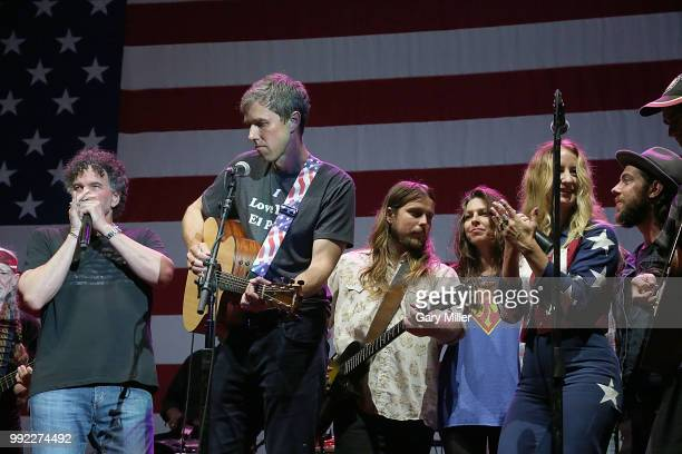 Mickey Raphael Beto O'Rourke Lukas Nelson and Amy Nelson perform in concert at Willie Nelson's 45th 4th Of July Picnic at the Austin360 Amphitheater...