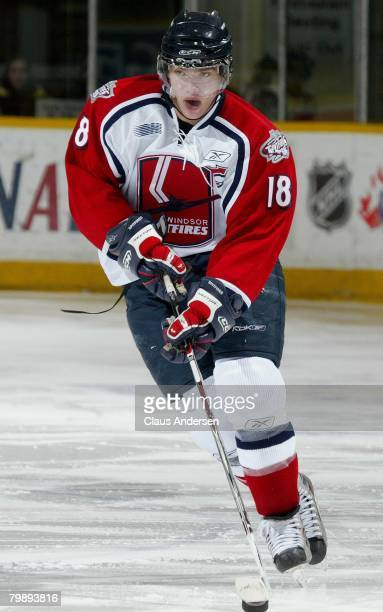 Mickey Renaud of the Windsor Spitfires skates in a game against the Peterborough Petes on February 9 2008 at the Peterborough Memorial Centre in...
