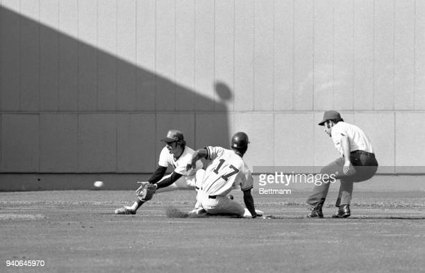 Mickey Rivers of the NY Yankees steals safely into 2nd base in the first inning of the Red SoxYankees game at Fenway Park Rivers walked to get on...