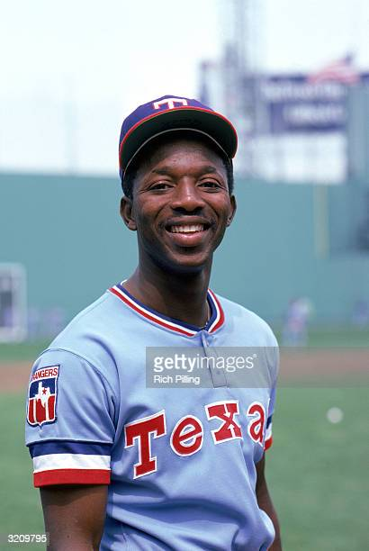 Mickey Rivers of the Texas Rangers poses for a portrait before a game against the Boston Red Sox during April of the 1980 season at Fenway Park in...