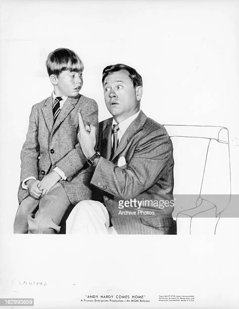 Mickey Rooney and his son in publicity portrait for the film 'Andy Hardy Comes Home' 1958