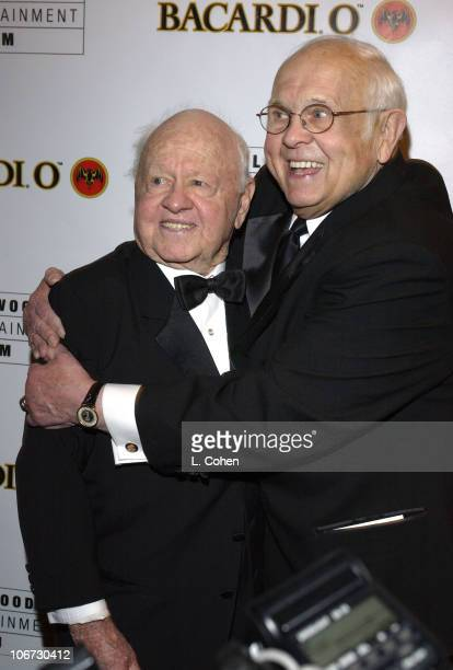 Mickey Rooney and Johnny Grant during Salute to Johnny Grant Happy 80th Birthday Staged by the Hollywood Entertainment Museum Cocktail Party at...