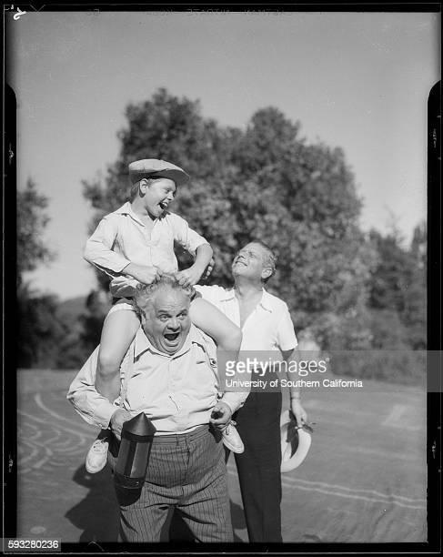 Mickey Rooney and unknown actor rehearsing A Midsummer's Night Dream with director Max Reihardt for a Hollywood Bowl production